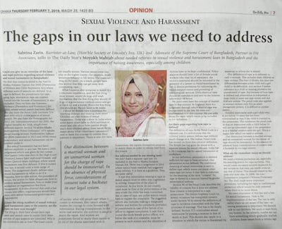 Barrister Sabrina Zarin | Partner | Top Female Lawyer in Bangladesh | Daily Star Article